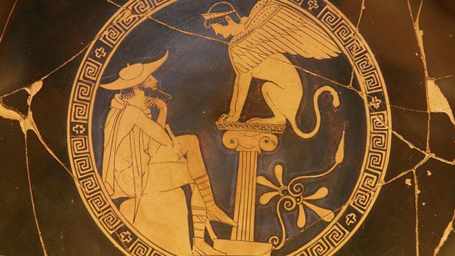 Una cerámica griega donde vemos a Edipo enfrentándose al acertijo de la esfinge. Un hipersigilo es enigmático.